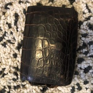 Bottega Veneta 🐊 Crocodile Card Wallet : Brown